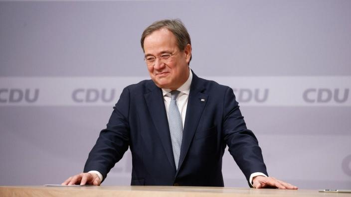 Der neue Vorsitzende der CDU Deutschlands Armin Laschet im Augenblick der Ergebnisbekanntgabe